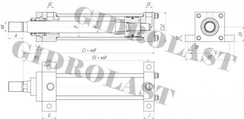 Гидроцилиндр поршневой, чертеж с креплением HC2-MS2