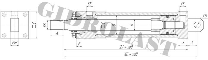 Поршневой гидравлический цилиндр с креплениемHC2-MP3