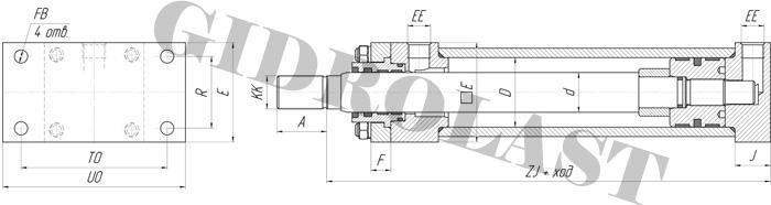 Поршневые гидроцилиндры двустороннего действия с креплением HC2-ME6, чертежи