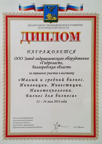 Диплом «За активное участие», выданного Департаментом экономического развития Белгородской области