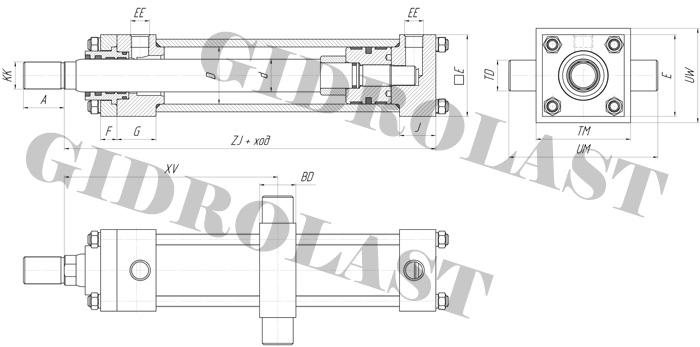 Чертеж поршневого цилиндра с креплением HC2-MT4