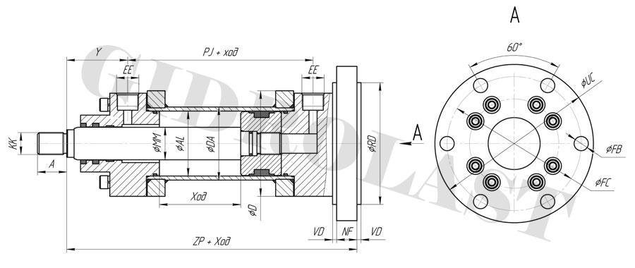 Чертеж гидравлического цилиндра с креплением MF4