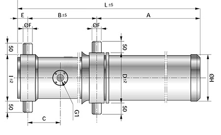 Чертеж телескопического цилиндра с креплением MT4+MT4