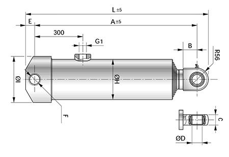 Чертеж телескопического цилиндра с креплением MP1+MP3