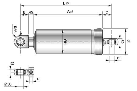 Чертеж телескопического цилиндра с креплением MT4+MP5